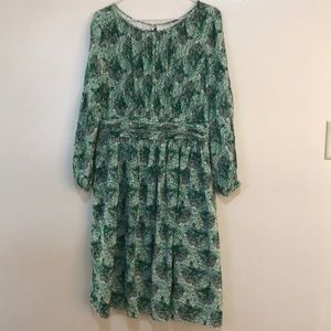 Boden Green/Print Floral Print Pleated Flowy Dress